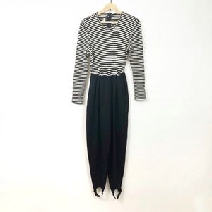 Vintage 90's Black White Striped Jumper Stirrups